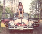 Mom on VW Bug